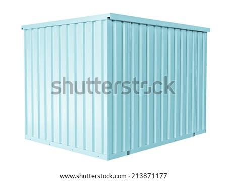 Container for freight shipping, isolated on white - cool cyanotype