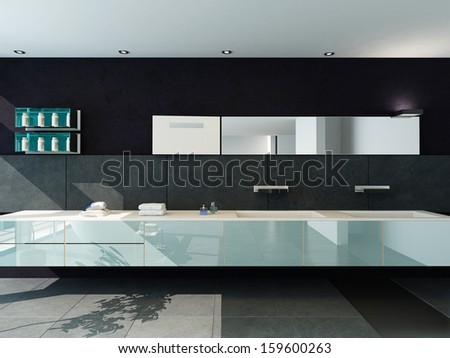 Contemporary design bathroom interior in black color