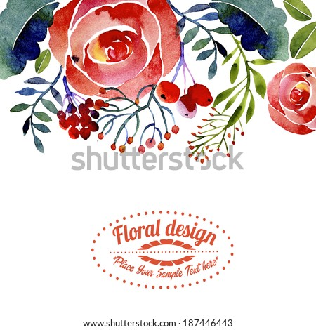 Contemporary floral greeting card or border design