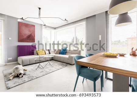 Contemporary Living Room For Family With Gray Walls, Beige Corner Sofa, Big  Windows, Part 82