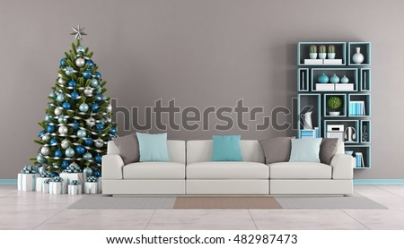 Contemporary Living room with christmas tree,sofa and bookcase on wall - 3d rendering