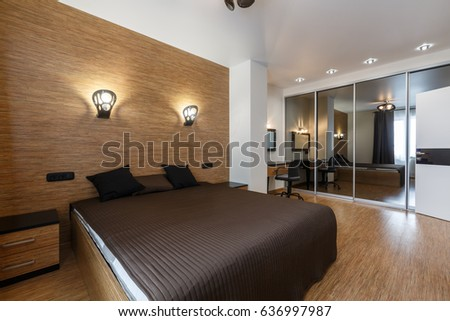Contemporary Luxury Bedroom In Apartment Downtown. Soft Brown Palette. Big  Master Bedroom. Golden