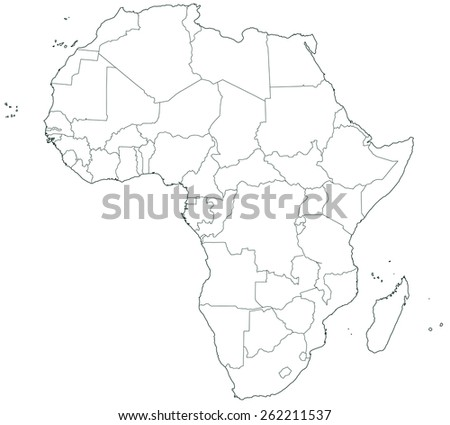 Africa map background vector stock vector 168777329 shutterstock contour border map of the africa sciox Choice Image