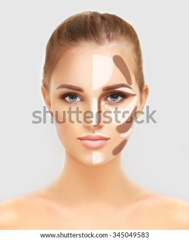 Contouringmake Woman Face Contour Highlight Makeup Stock Photo ...