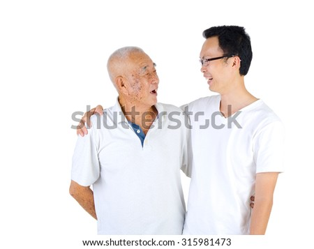 Conversation between senior man and son