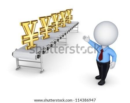 Conveyor with yen symbol.Isolated on white background.3d rendered.