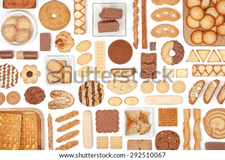 cookies and biscuits on white background