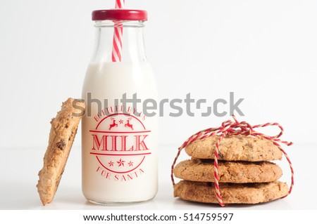 Cookies and bottle of milk for Santa