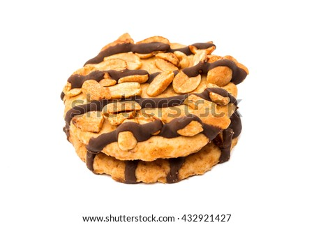 cookies with peanuts, isolated on a white background