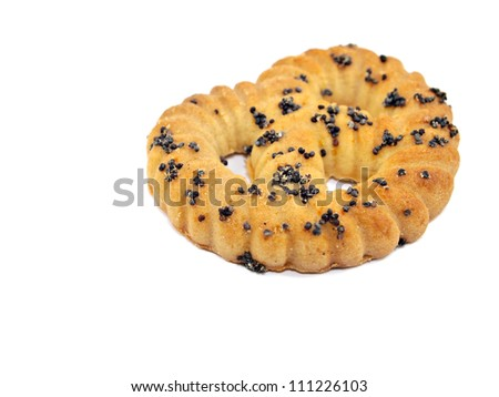 Cookies with poppy-seed on a white background