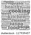 Cooking info-text graphics and arrangement concept on white background (word cloud) - stock