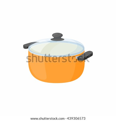 Cooking pan with glass lid icon, cartoon style