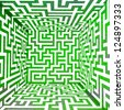 cool green three dimensional maze box illustration - stock vector