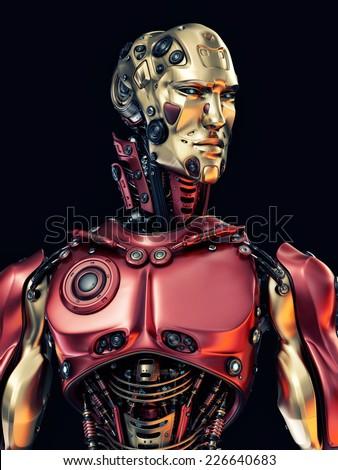 Cool Robotic Part Face Cyborg Mask Stock Illustration ...