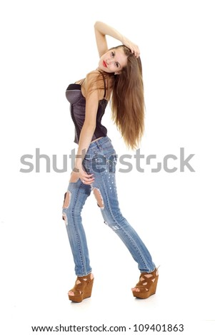 Cool young lady with long hair on a white background