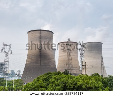 cooling tower closeup in a power plant