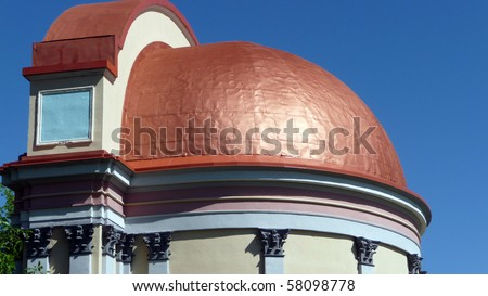 Copper Dome Roof On Outdoor Bandshell Stock Photo
