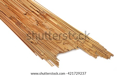copper welding wire on white background
