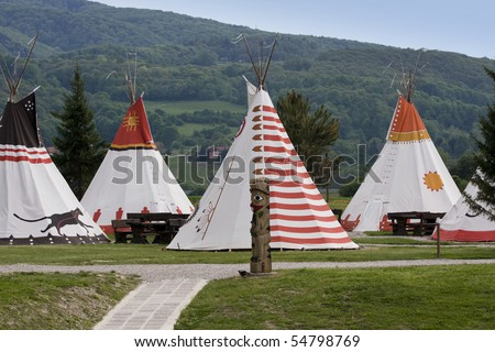Copy of the Native Americans village with wigwams.