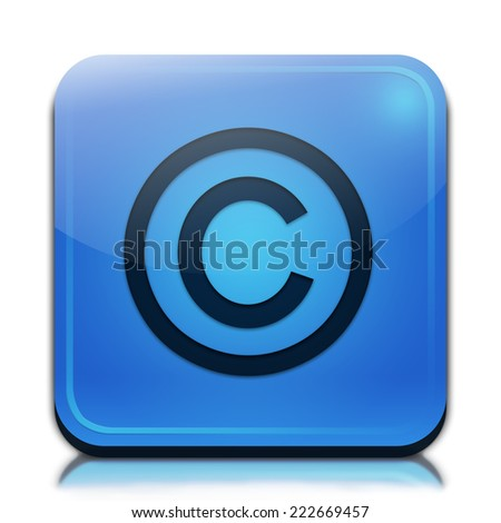 Copyright icon. Glossy blue button.