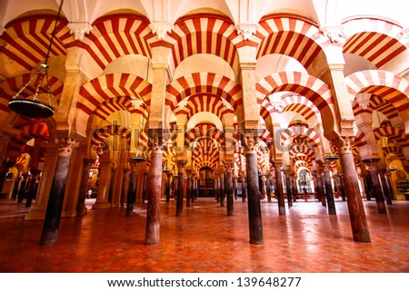 CORDOBA - OCTOBER 17. Interior of Mezquita (Mosqueâ��Cathedral of C�³rdoba) on October 17, 2012 in Cordoba , Spain. Mezquita is now a Catholic Christian cathedral and formerly a medieval Islamic mosque.