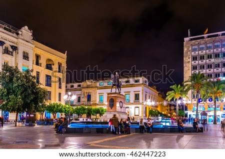 CORDOBA, SPAIN, JANUARY 8, 2016: night view of the plaza de las tendillas square which is the main center of the spanish city cordoba.