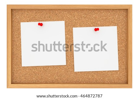 cork board with two blank sheets of paper isolated on white background 3d