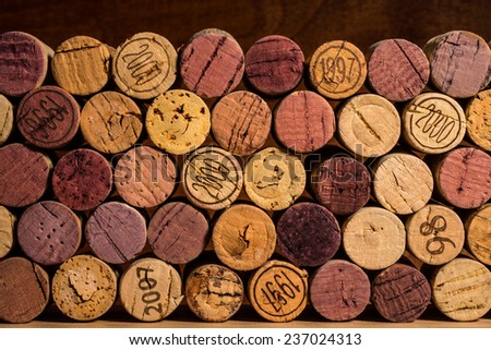 Corks stacked with edges facing outward.