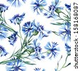 Cornflowers Seamless Pattern - stock vector