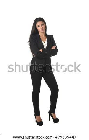 corporate portrait of young attractive latin businesswoman wearing office formal suit smiling happy and confident isolated on white background in business success concept