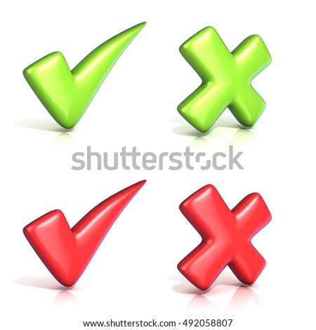 Correct and incoorrect check marks. 3D render illustration isolated on white background