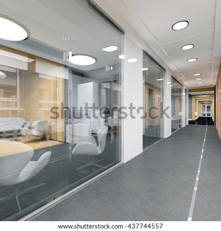 corridor of modern office 3D visualization