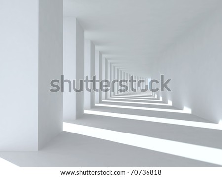 Corridor with columns and deep shadows. Illustration