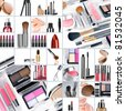 Cosmetic theme collage composed of different image - stock photo