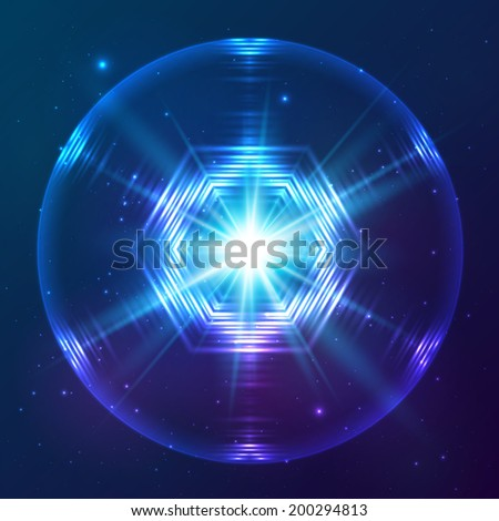 Cosmic blue shining lights abstract sphere