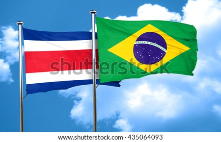 Costa Rica flag with Brazil flag, 3D rendering