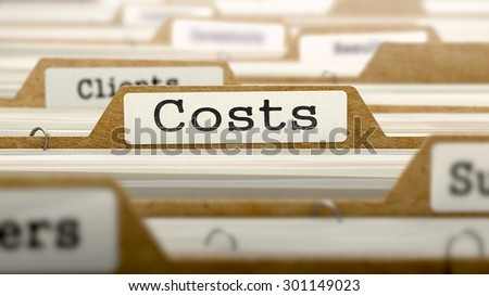Costs Concept. Word on Folder Register of Card Index. Selective Focus.