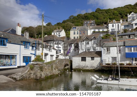Cottages at Polperro Harbour, Cornwall, England
