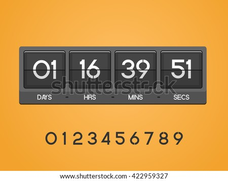 Countdown Timer for the website. Square section. Days, hours, minutes, seconds. orange background.