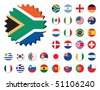 countries badges in sticker form, 32 countries. - stock photo