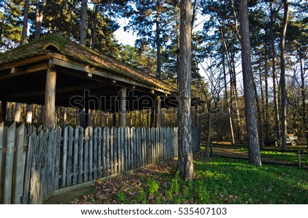Wooden Gate Across Driveway Vacation Community Stock Photo ...
