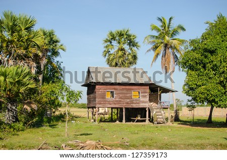 Country stilt house in Cambodia