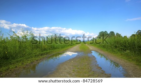 Forest On Bank River Clouds Stock Photo 50894446