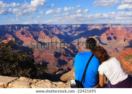 Couple and Grand Canyon, Arizona, USA