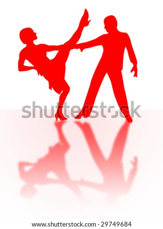 Couple dancing on the stage with shadow