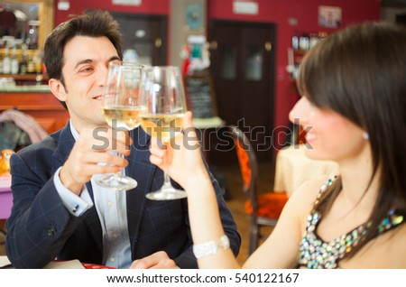 Couple having fun in a restaurant