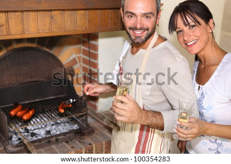 couple having nice time near the fireplace