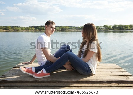 Couple of lovers enjoy each other on the nature