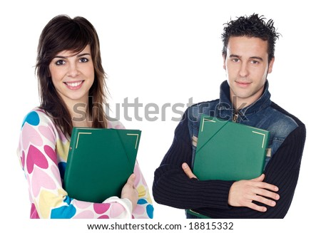 Couple of teen students returning to college on a white background