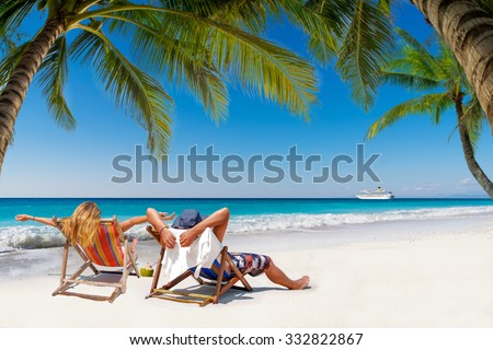 Couple on a tropical beach in the Maldives